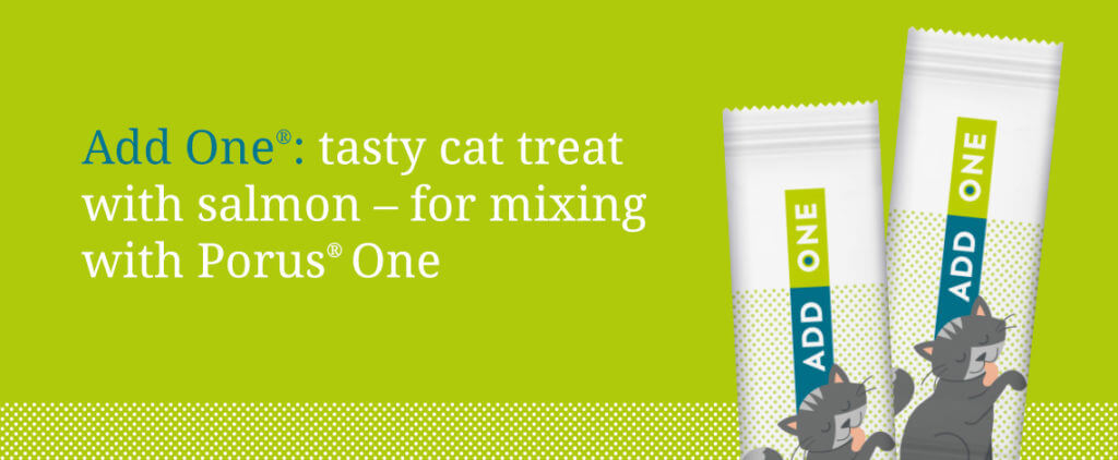 """Add One tasty salmon cat treat, can be used to mix with Add One"